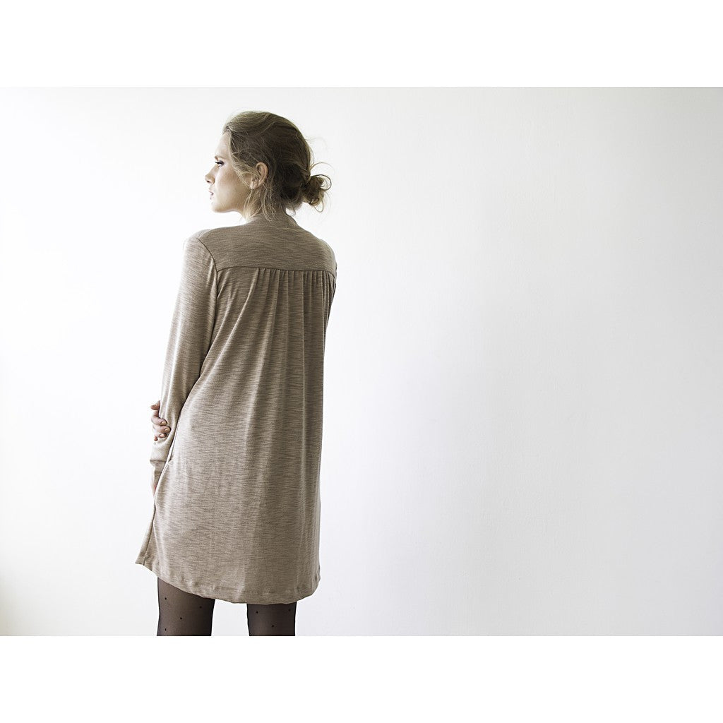 Outerwear - Shop Beige short Knitted Cardigan, Brown Beige Coatigan, Short cardigan, Long sleeves cardigan from Style&Pose online