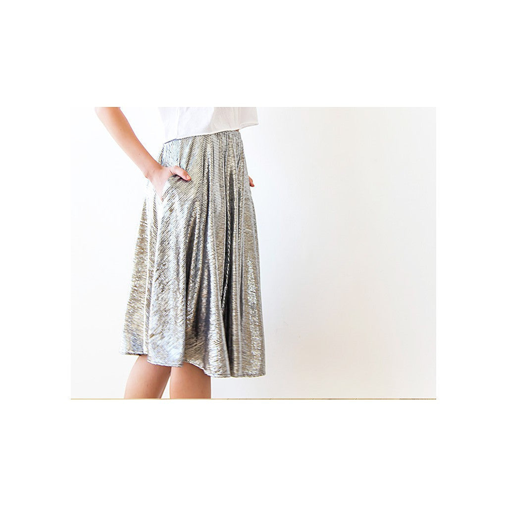 Skirts - Shop Midi Skirt , Silver Skirt, Knee Length Skirt With Pockets , Metallic Skirt , Party Outfit , Silver Short Skirt from Style&Pose online