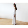 Women - Apparel - Bridal - Shop Ivory Off-The-Shoulder Floral Lace Long Sleeve Maxi Dress 1119 from Style&Pose online