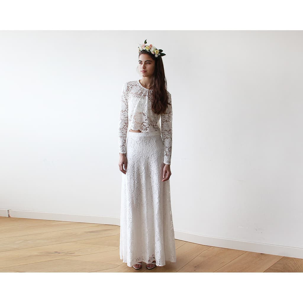 Women - Apparel - Bridal - Shop Bridal Ivory Lace Maxi Skirt 3021 from Style&Pose online
