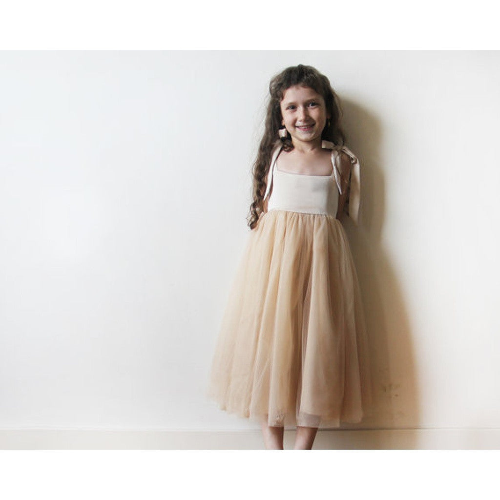 Women - Apparel - Bridal - Shop Gold tie straps tulle flower girls dress 5004 from Style&Pose online