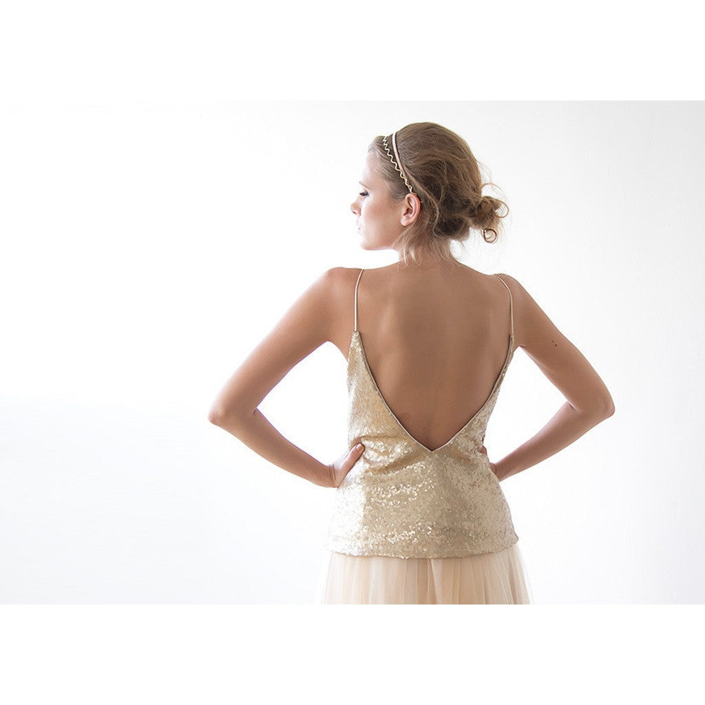 Women - Apparel - Bridal - Shop Gold open back sequin top from Style&Pose online