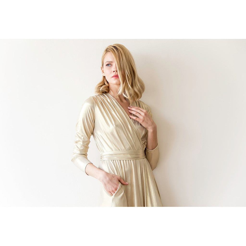 Women - Apparel - Dresses - Casual - Shop Gold long sleeved maxi dress from Style&Pose online