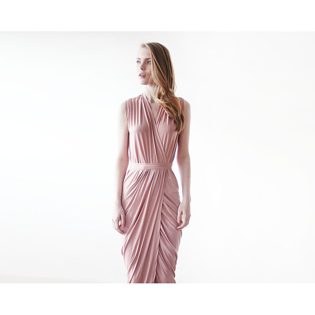 Sleeveless pink wrap maxi gown 1055