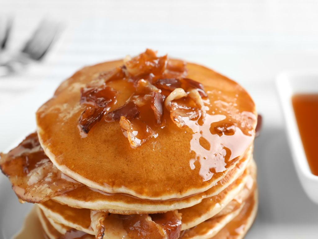 Buttermilk Peanut Butter Bacon Pancakes for Dad