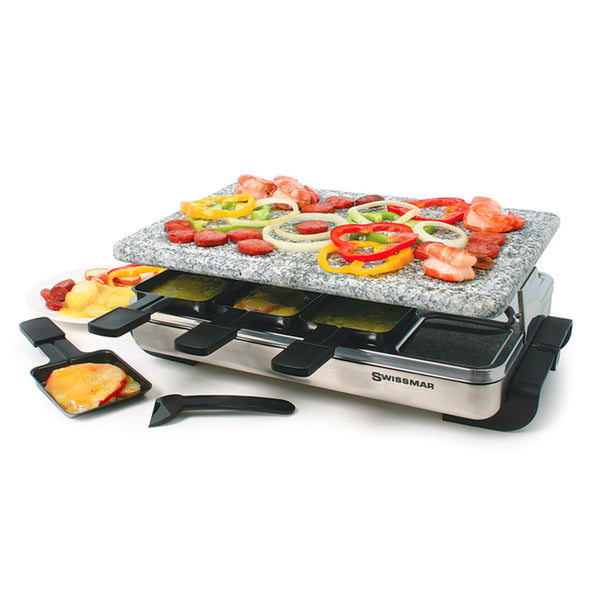 8 Person Raclette Party Grill with Granite Stone