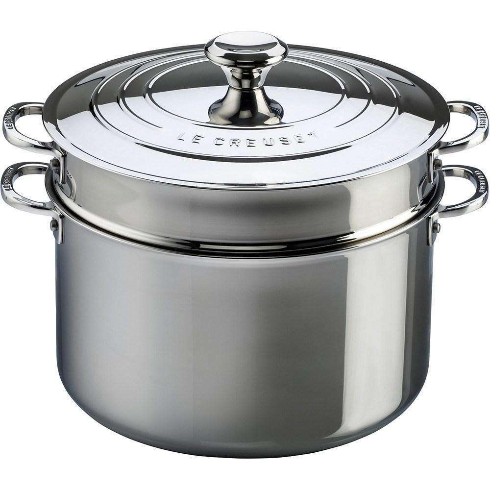 Le Creuset Stainless Steel 8.3 L Stockpot with Pasta Insert