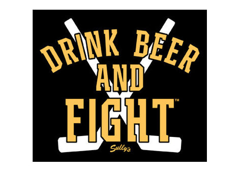 Drink Beer and Fight - Black & Gold Sticker