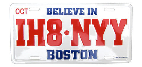 IH8-NYY Embossed Aluminum License Plate