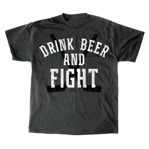 Drink Beer and Fight - Charcoal Gray T-Shirt