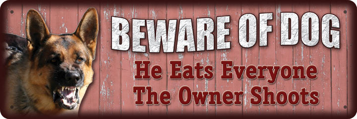 "10.5"" x 3.5"" Tin Sign - Beware Of Dog"