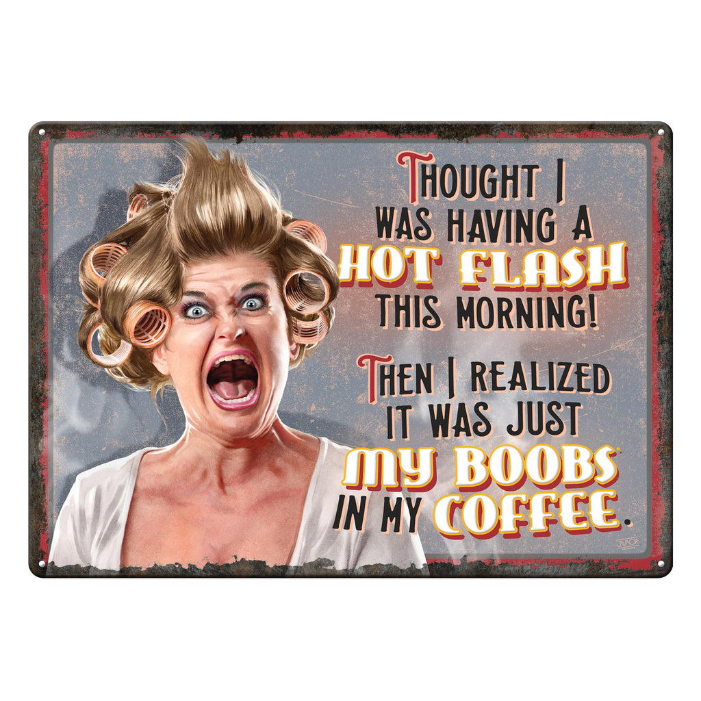 "12"" x 17"" Tin Sign - Hot Flashes"
