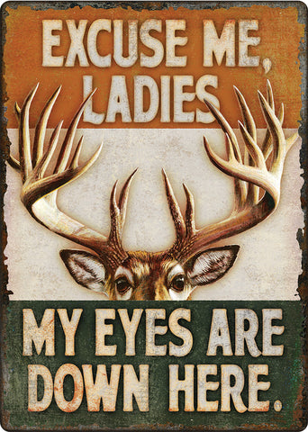 "12"" x 17"" Tin Sign - Eyes Down Here"