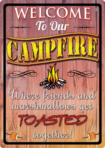 "12"" x 17"" Tin Sign - Welcome to Our Campfire"