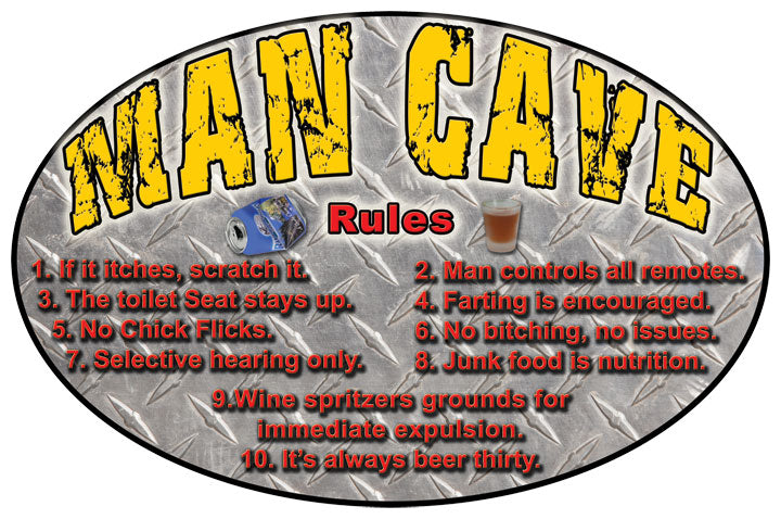 "12"" x 17"" Tin Sign - Man Cave Rules"