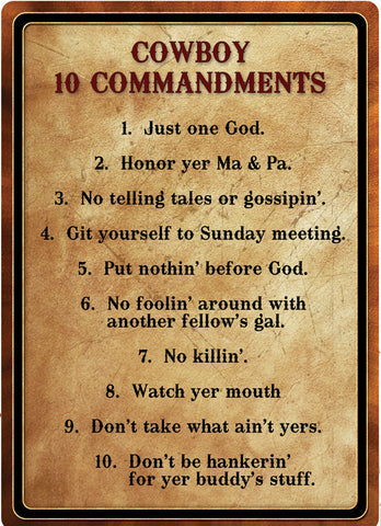 "12"" x 17"" Tin Sign - Cowboy 10 Commandments"
