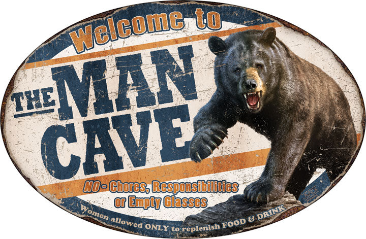 "12"" x 17"" Tin Sign - Bear Man Cave"