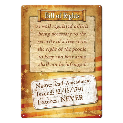 "12"" x 17"" Tin Sign - Bill of Rights"