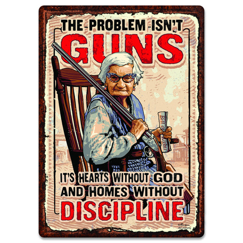 "12"" x 17"" Tin Sign - Guns and Discipline"