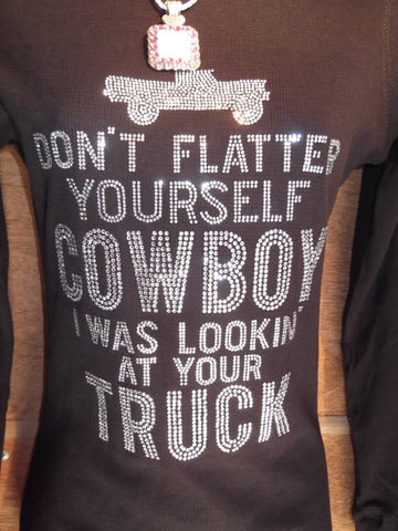 Rhinestone Long Sleeve Shirt - Don't Flatter Yourself