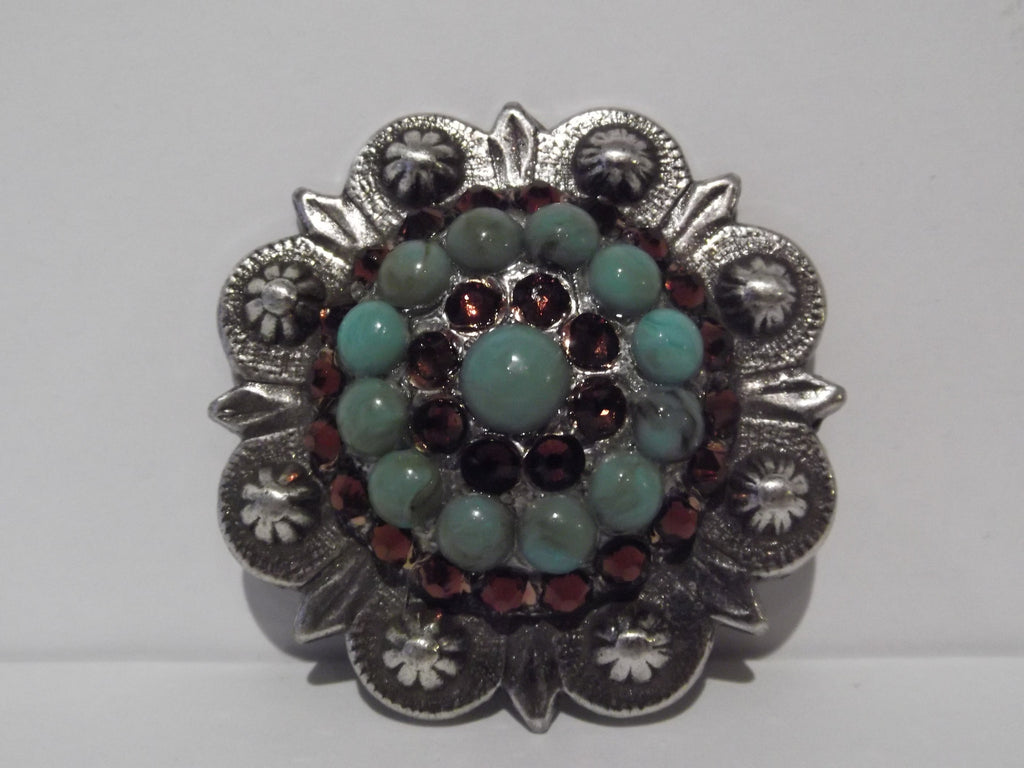 "1 3/4"" Custom Antique Silver Berry Concho - Smoked Topaz with Turquoise Center"