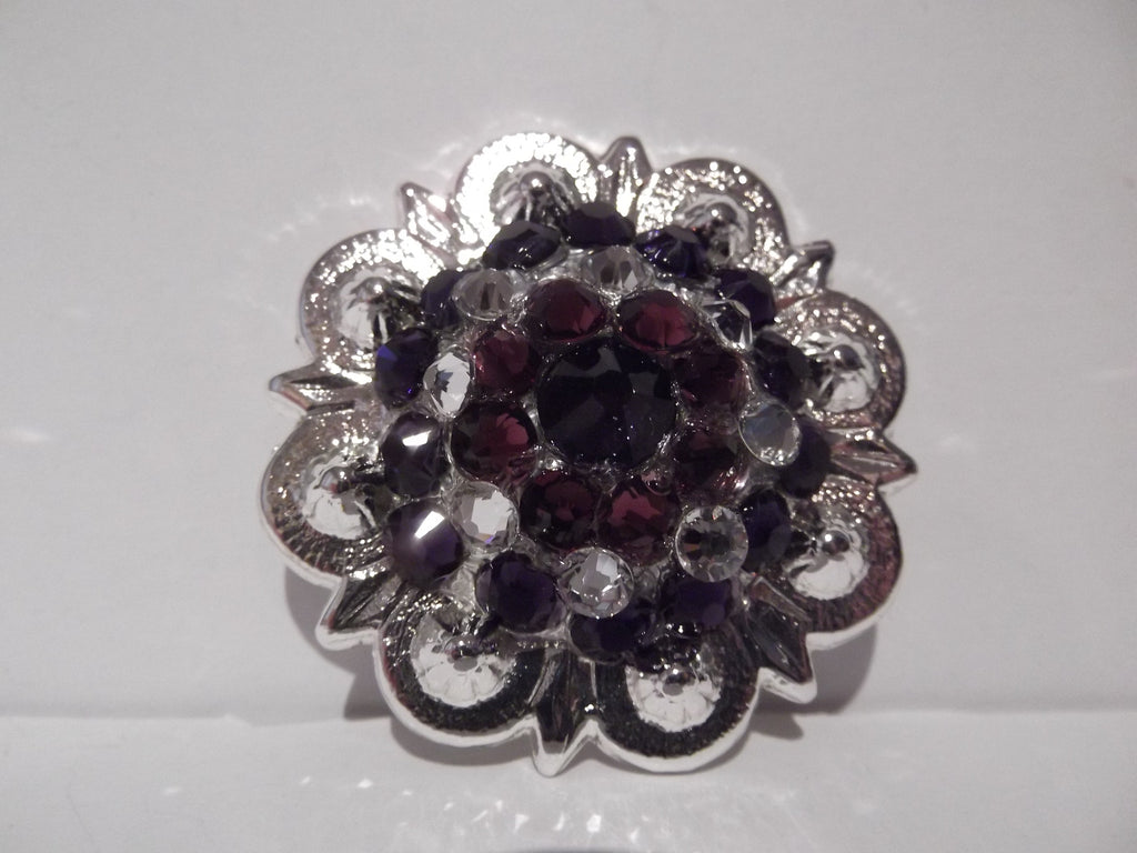 "1 1/2"" Custom Shiny Silver Berry Concho - Amethyst and Crystal with Purple Velvet Center"