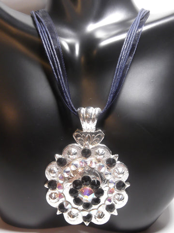 Shiny Silver Berry Concho Necklace - Dally Down Designs