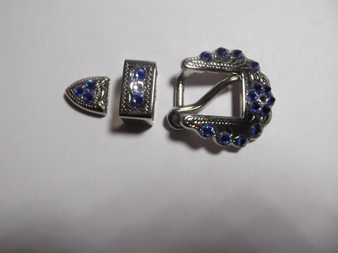 "3/4"" Shiny Silver Buckle Set - Blue Zircon"
