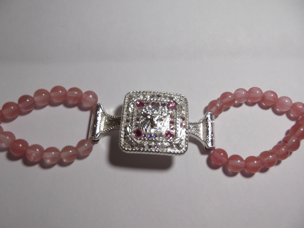 Custom Concho Bracelet with Pink Beads