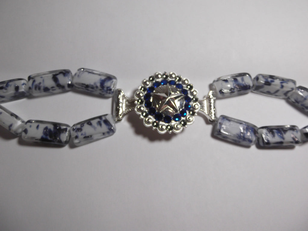 Custom Concho Bracelet with Blue and White Beads