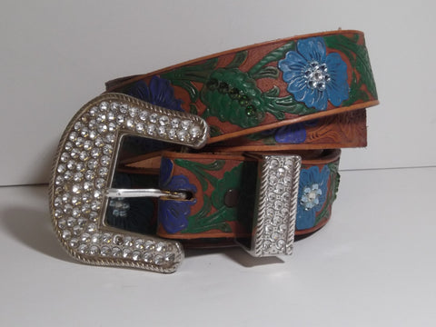 "1 1/2"" Custom Painted Floral Belt - Dark Blue / Light Blue"
