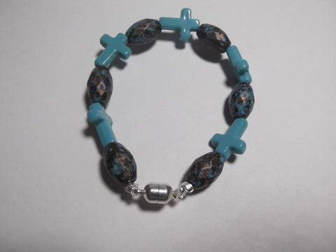 Custom Turquoise Cross Beaded Bracelet