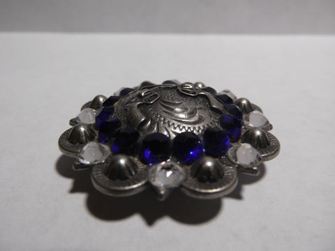 "1 1/2"" Custom Antique Silver Crossed Pistols Concho - Crystal and Cobalt"