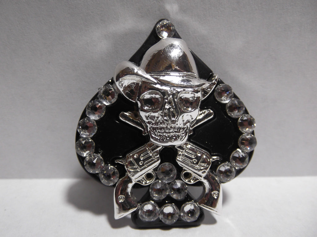 "1 3/4"" Black Iron Skull and Crossed Pistols Concho - Crystal"