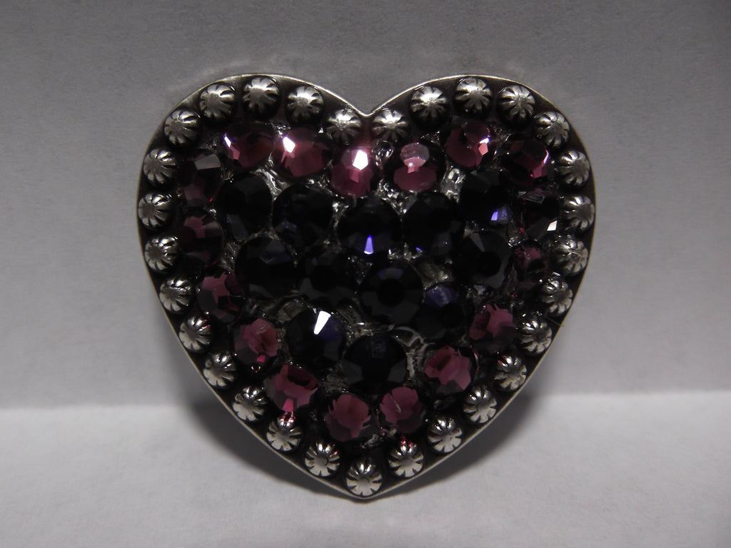 "1 1/2"" Custom Antique Silver Heart Concho - Amethyst and Purple Velvet"