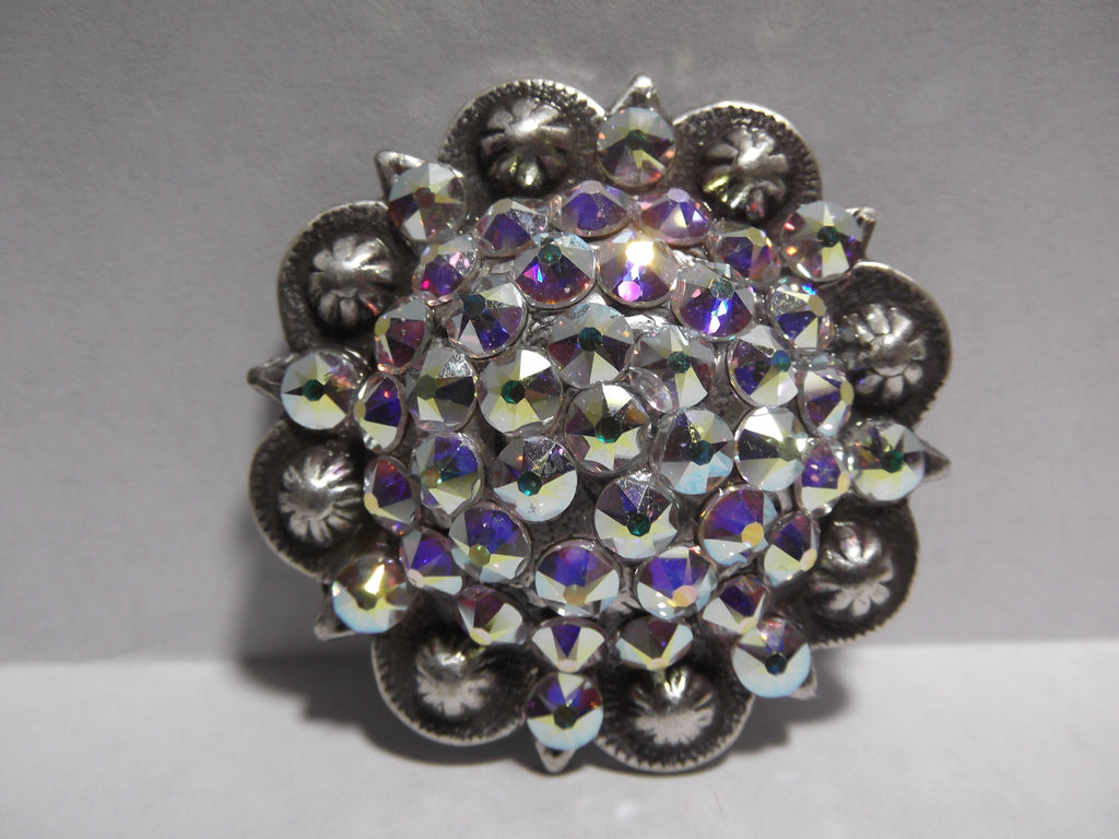 "1 3/4"" Custom Antique Silver Berry Concho - Crystal AB"