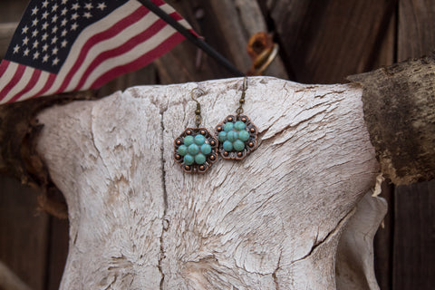 "1"" Copper Berry Concho Earrings - Pacific Opal"