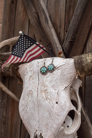"1"" Copper Octagon Berry Concho Earrings - Turquoise"