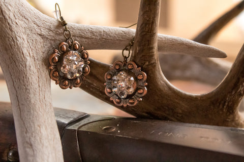 "1"" Copper Berry Concho Earrings - Crystal"
