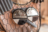 Copenhagen Silver Lid Earrings - Black and White Cowhide - Dally Down Designs