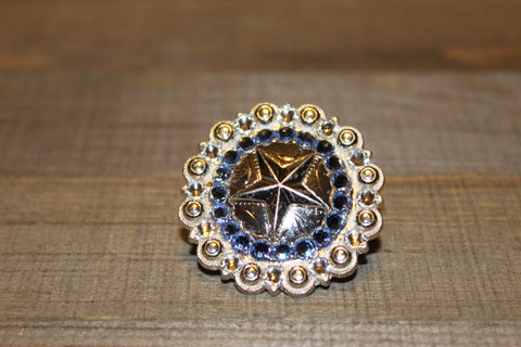 "1 1/2"" Custom Shiny Silver Star Berry Concho - Light Sapphire and Crystal"