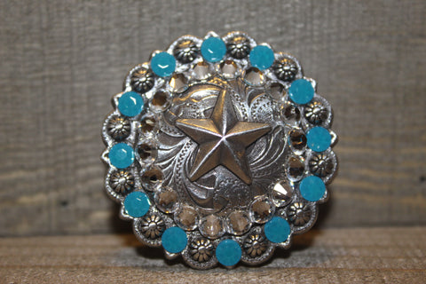 "1 3/4"" Custom Antique Silver Star Berry Concho - Crystal and Caribbean Blue Opal"