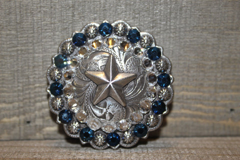 "1 3/4"" Custom Antique Silver Star Berry Concho - Crystal and Metallic Blue"