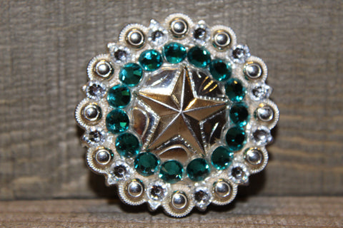 "1 1/2"" Custom Shiny Silver Star Berry Concho - Blue Zircon and Crystal"
