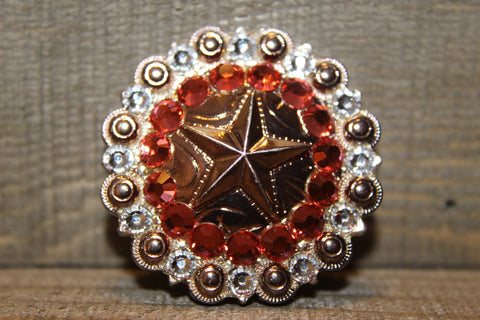 "1 1/2"" Custom Shiny Silver Star Berry Concho - Padparadscha and Crystal"