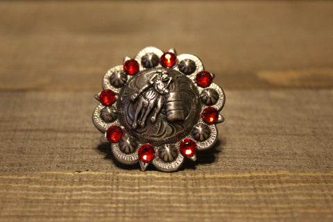 "1 3/4"" Custom Antique Silver Barrel Racer Concho - Fuchsia and Black Diamond"