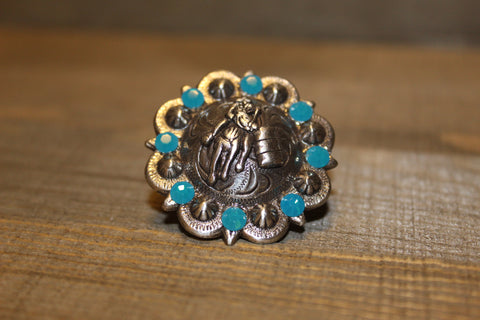 "1 3/8"" Custom Antique Silver Praying Cowboy Concho - Blue Zircon"