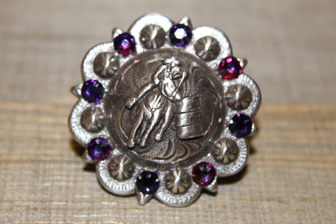 "1 1/2"" Custom Antique Silver Barrel Racer Concho - Crystal Volcano and Purple Velvet"