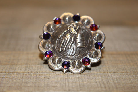 "1 3/4"" Custom Shiny Silver Berry Concho - Light Siam with Crystal AB Center"