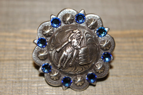 "1 1/2"" Custom Antique Silver Barrel Racer Concho - Meridian Blue"